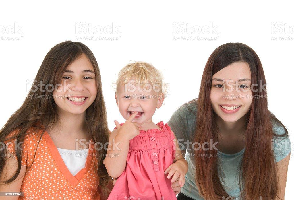 Three Cousins Smiling stock photo