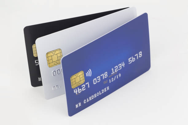 Three credit card blue, white and black on white background stock photo