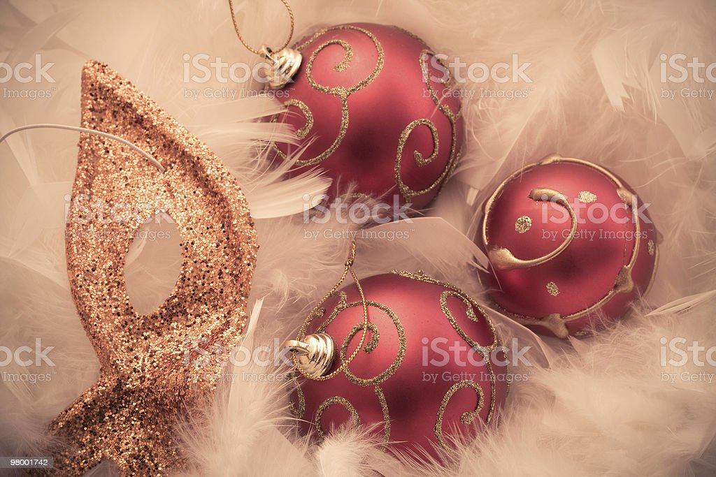 Three cristmas balls and mask royalty-free stock photo