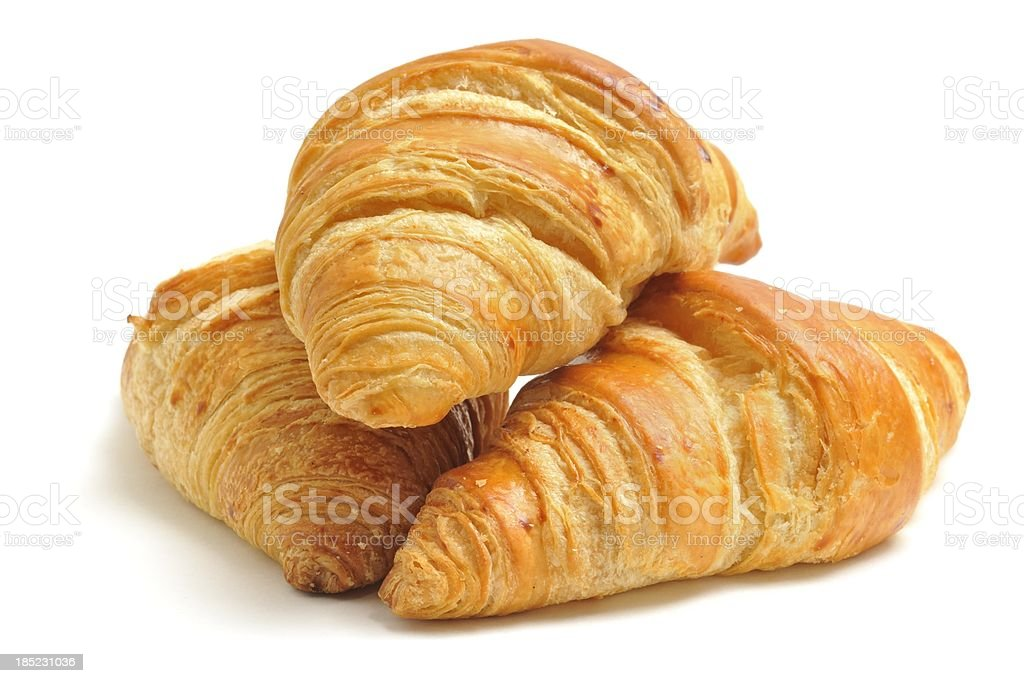 Three croissants stock photo