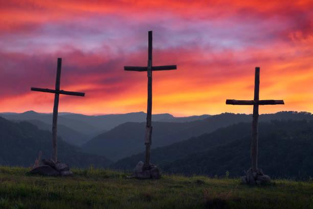 Three crosses at dusk, Appalachian Mountains stock photo