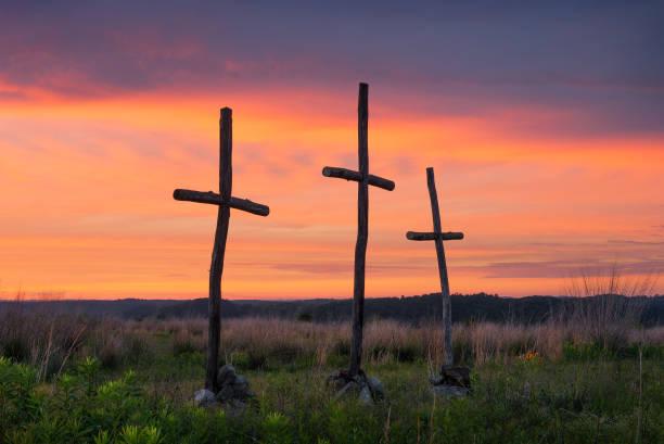 Three crosses at sunset, Appalachian Mountains stock photo