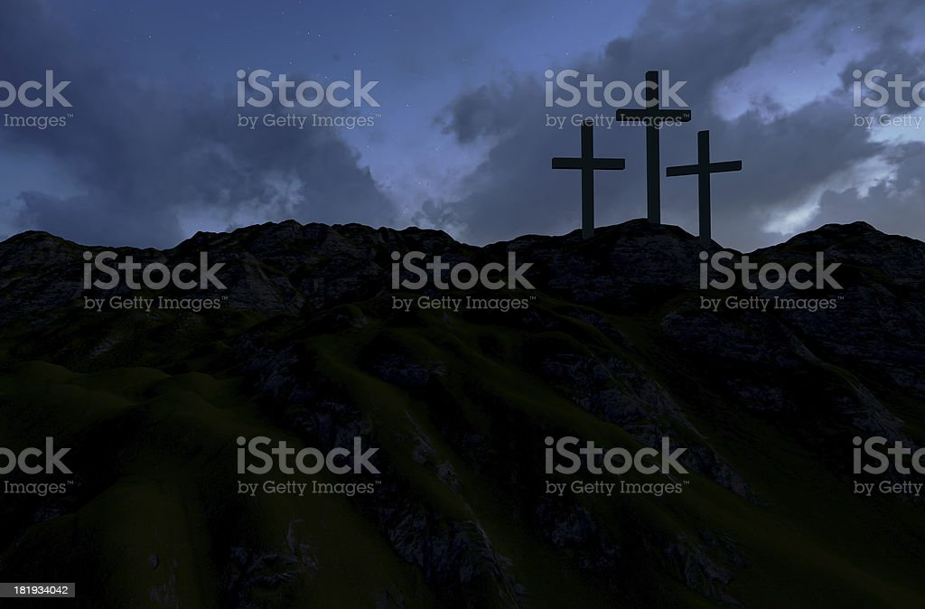 Three Crosses at Sunset stock photo