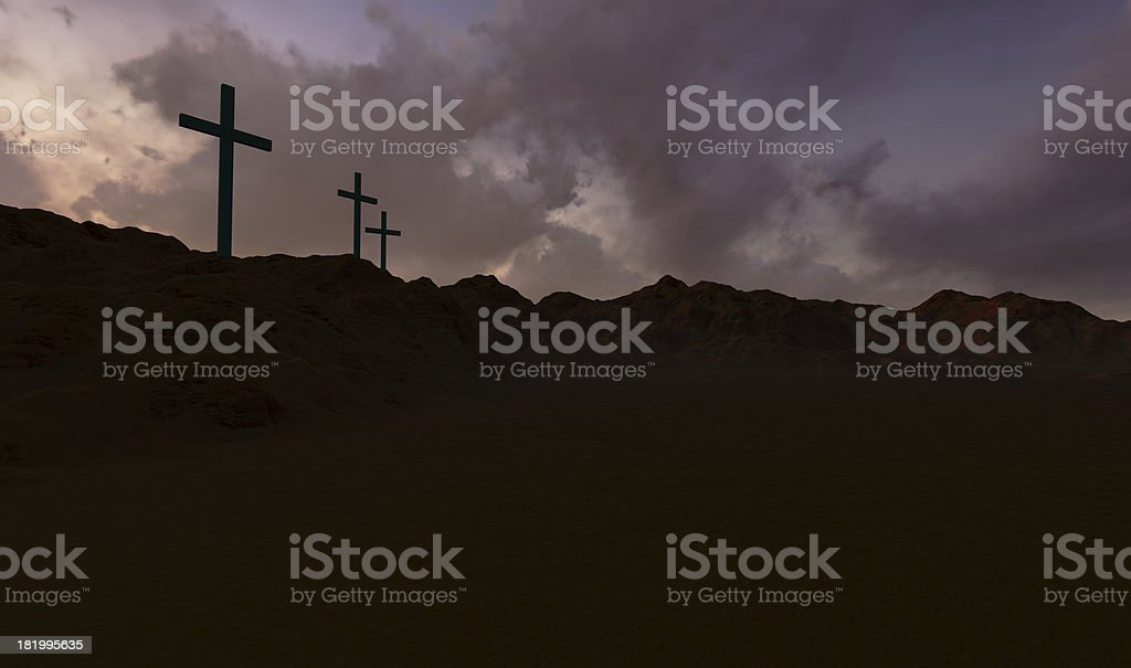 Three Crosses at Sunset royalty-free stock photo