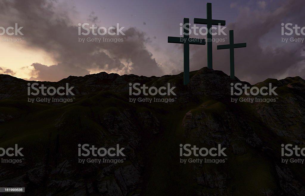 Three Crosses at Sunset royalty-free stock photo