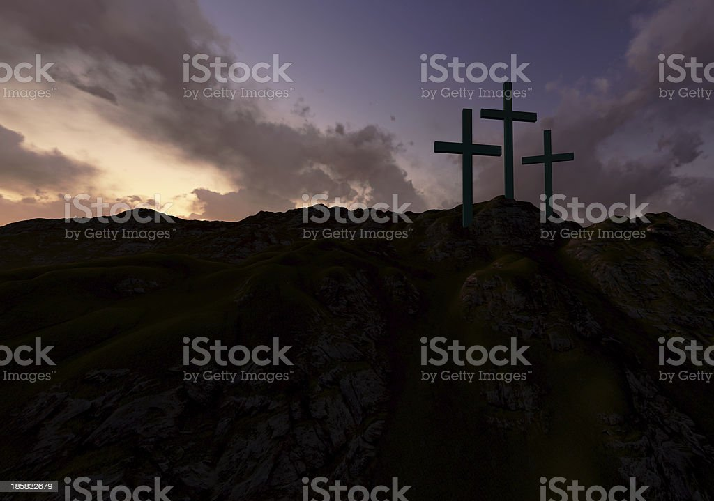 Three Crosses at Sunset stock photo