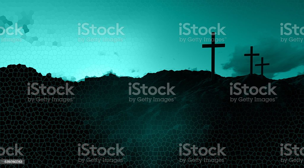 Dramatic sky silhouettes three wooden crosses with shafts of sunlight...