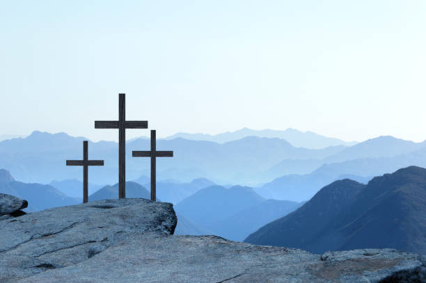 Three Crosses On A Cliff stock photo
