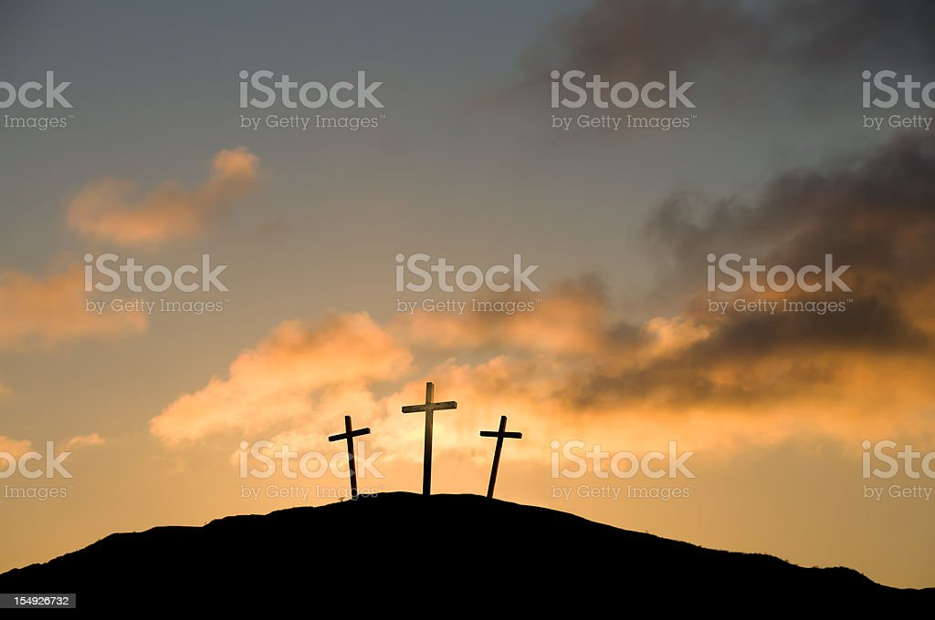 Three Crosses on Good Friday royalty-free stock photo