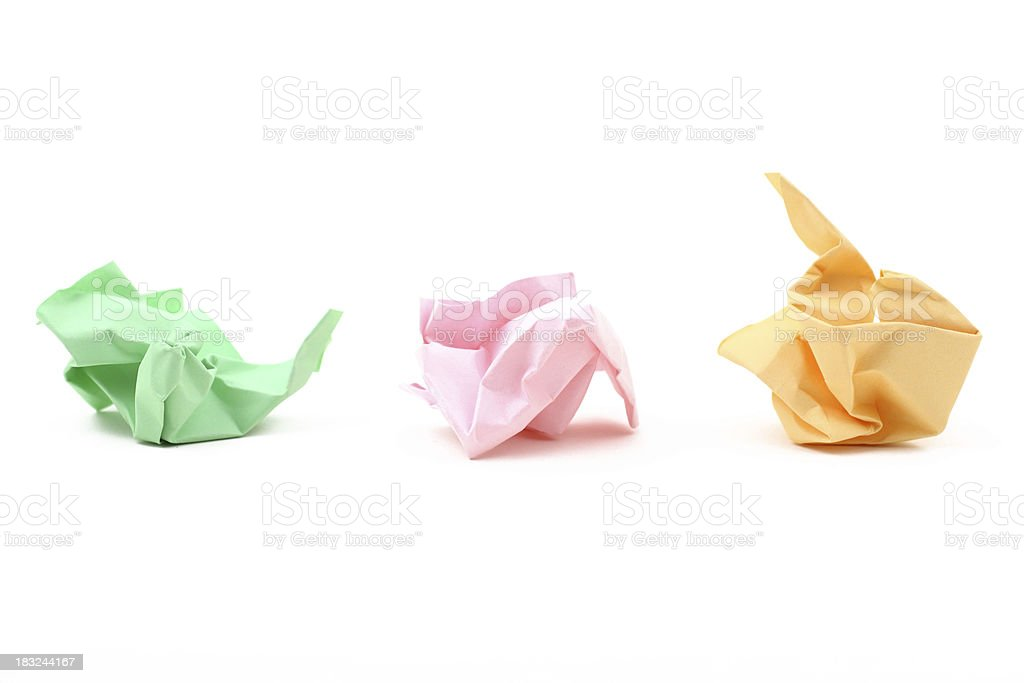 Three Crumpled Papers royalty-free stock photo