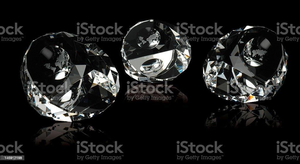 three crystal diamond clear with globe stock photo