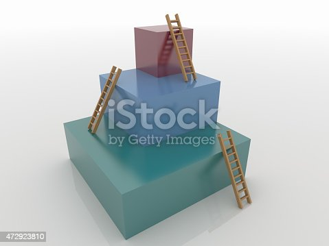 istock Three Cubes with Ladders, Goal 3D Concept 472923810