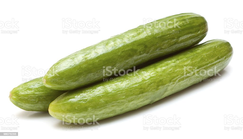 Three cucumbers isolated on white royalty-free stock photo