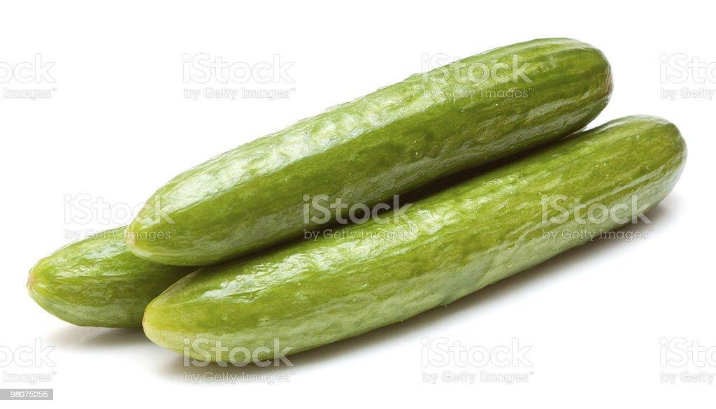 Three cucumbers isolated on white stock photo