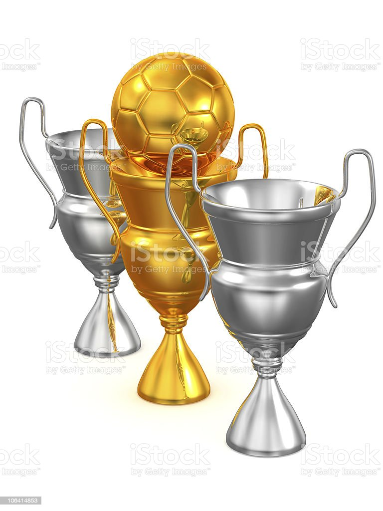 Three Cups with ball. 3d royalty-free stock photo
