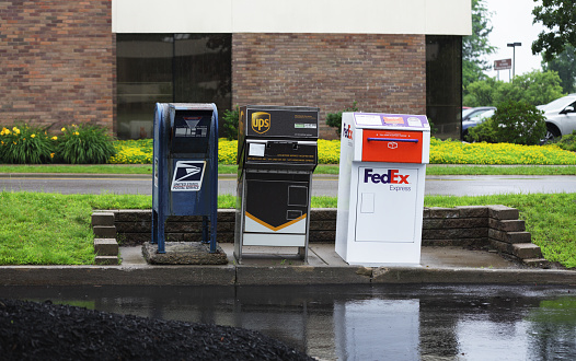 istock Three Curbside Drive Through Mail Collection Boxes 458363247