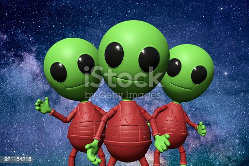 istock three cute little alien cartoon characters in front of the stars of the galaxy 921154218