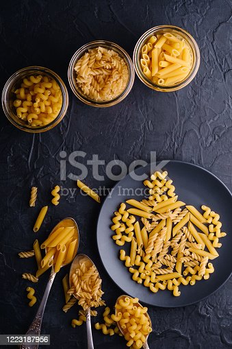 istock Three cutlery spoons, glass jars and plate with variety of uncooked golden wheat pasta on dark black textured background, top view 1223187956