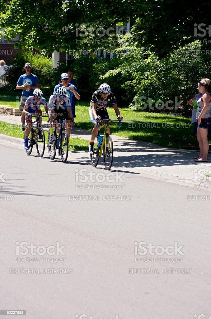 Three Cyclists Lead at Stillwater Criterium stock photo
