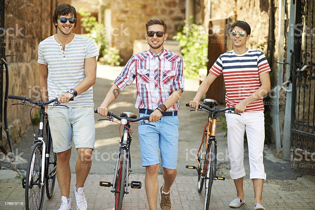 Three cyclists royalty-free stock photo