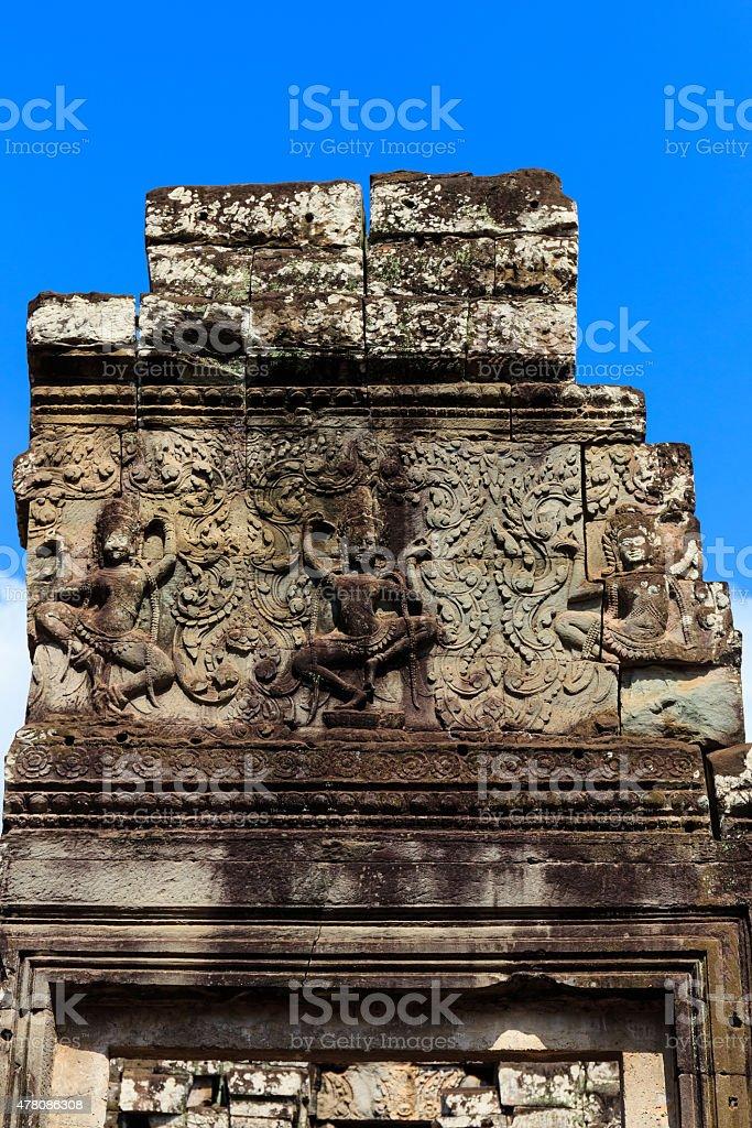 Three Dacing Apsaras in Bayon Temple stock photo