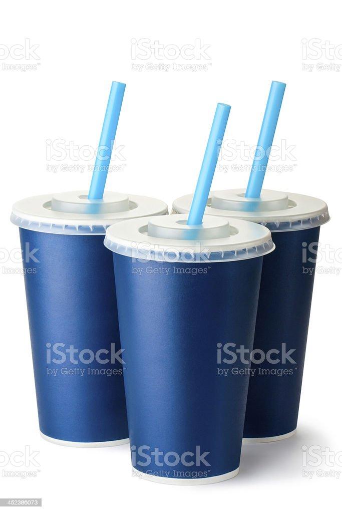 Three dark blue cardboard cups with a straws royalty-free stock photo
