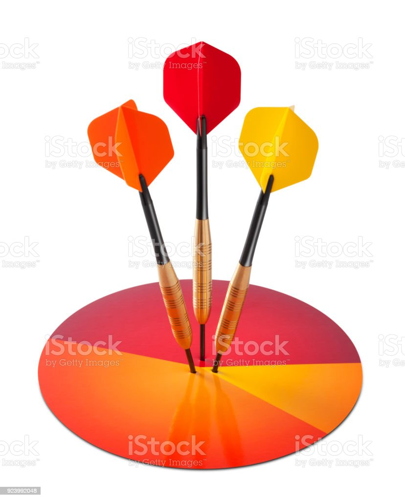 Three darts hitting a pie chart on white background stock photo