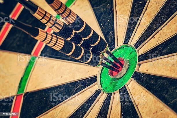 Drei Abnäher Am Bullseyenahaufnahme Stockfoto und mehr Bilder von Aktivitäten und Sport