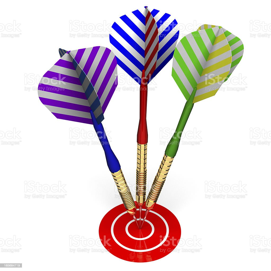 Three darts on red target royalty-free stock photo