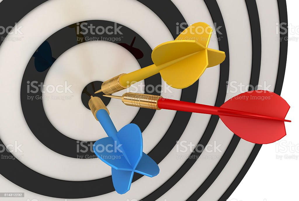 Three darts stock photo