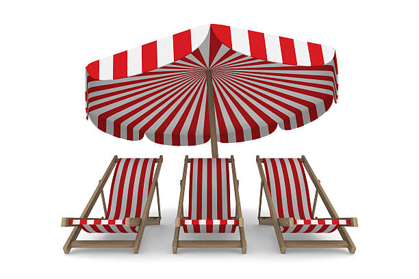 three deckchair and parasol on white background - dawdle stock pictures, royalty-free photos & images