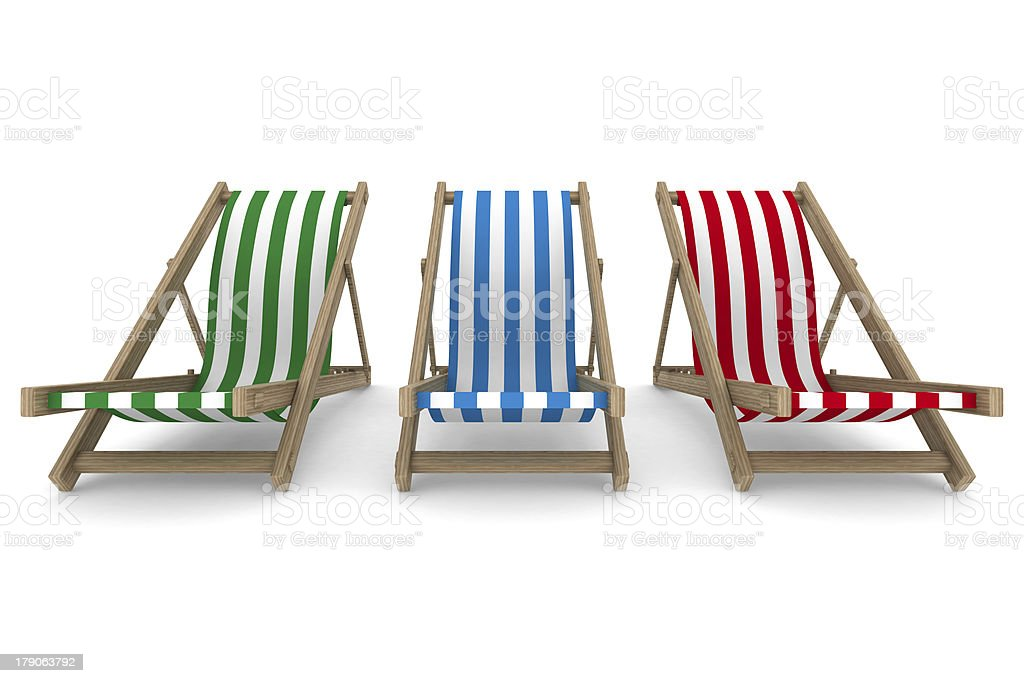 Three deckchair on white background. Isolated 3D image royalty-free stock photo