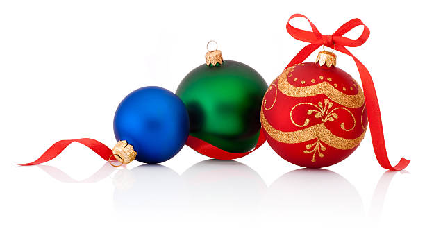 ... Three decorations Christmas ball with ribbon bow isolated on white  stock photo ...