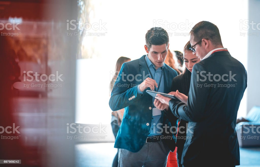Three departments working together stock photo