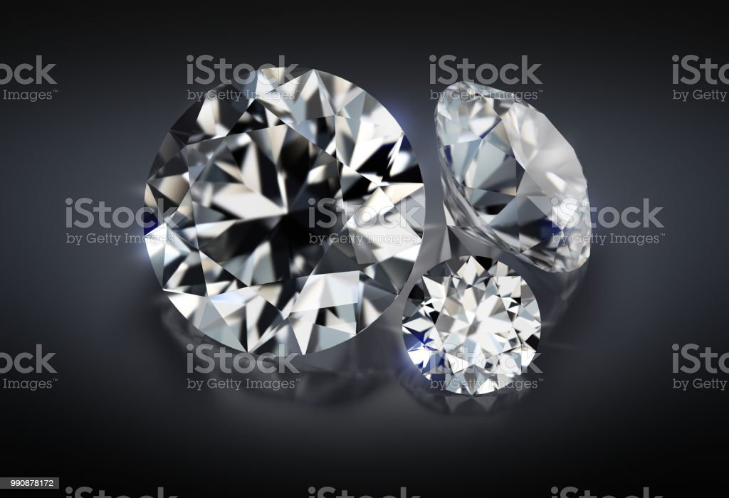 three diamonds on a dark background стоковое фото
