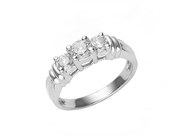 three diamonds set in a white gold ring isolated on white - ring juveler bildbanksfoton och bilder