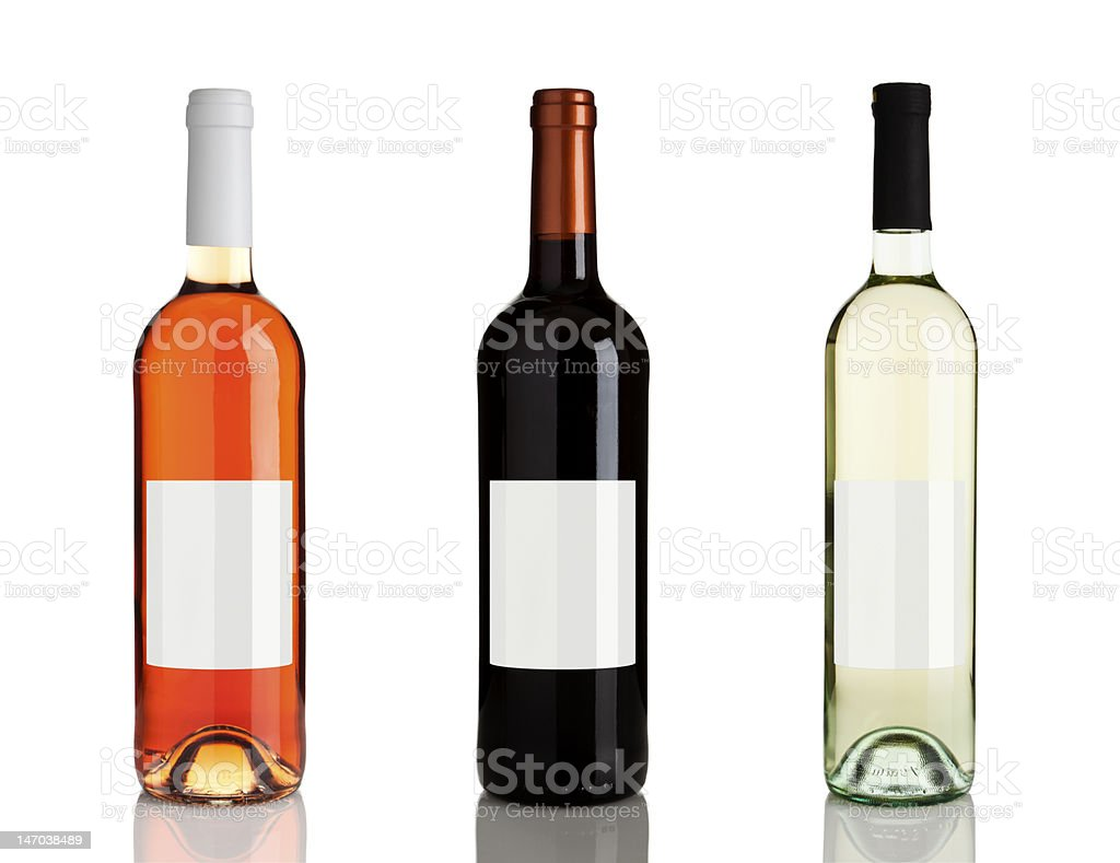 three different bottles of wine with blank labels XXXL stock photo