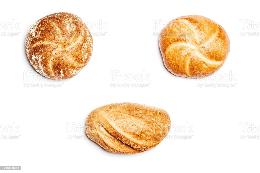 Three different bread rolls on white background, high angle stock photo