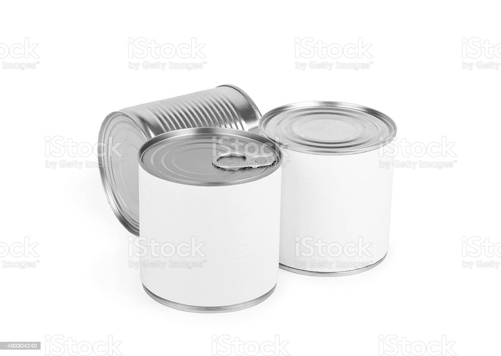 Three different canned food cans stock photo