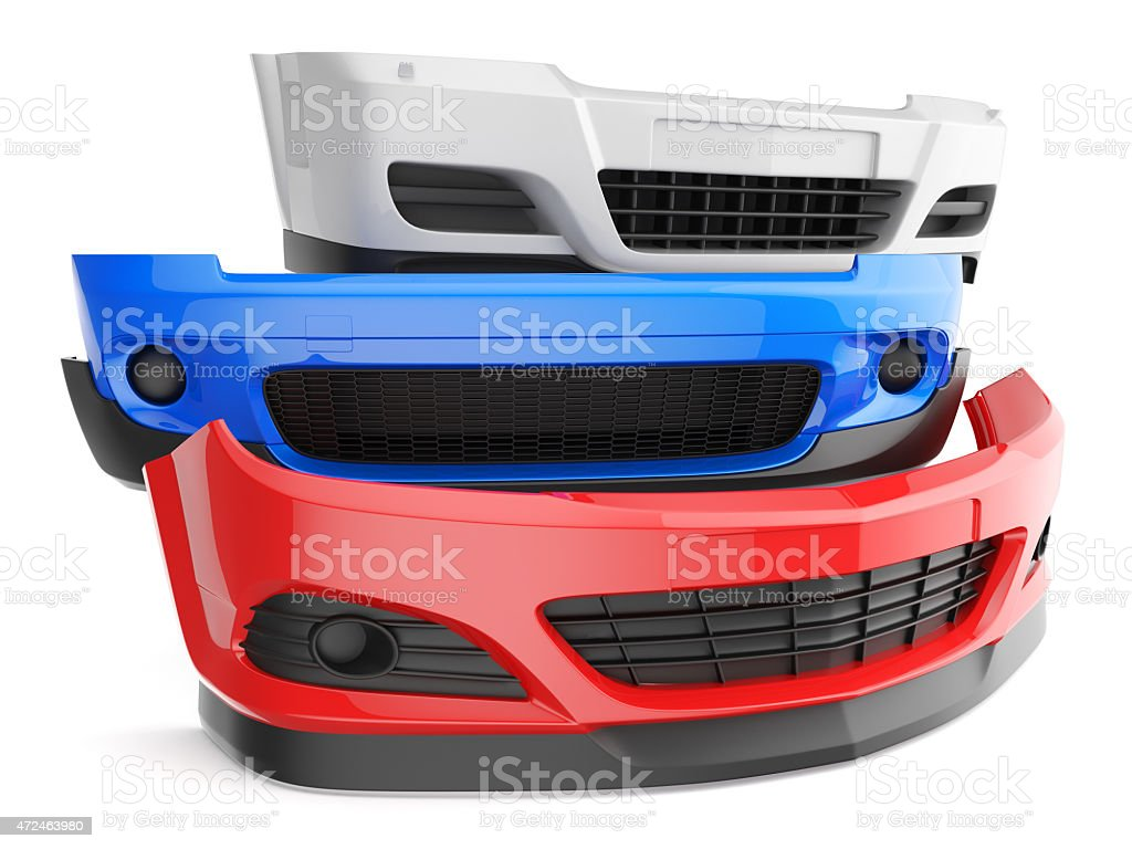 Three different car bumpers stacked stock photo