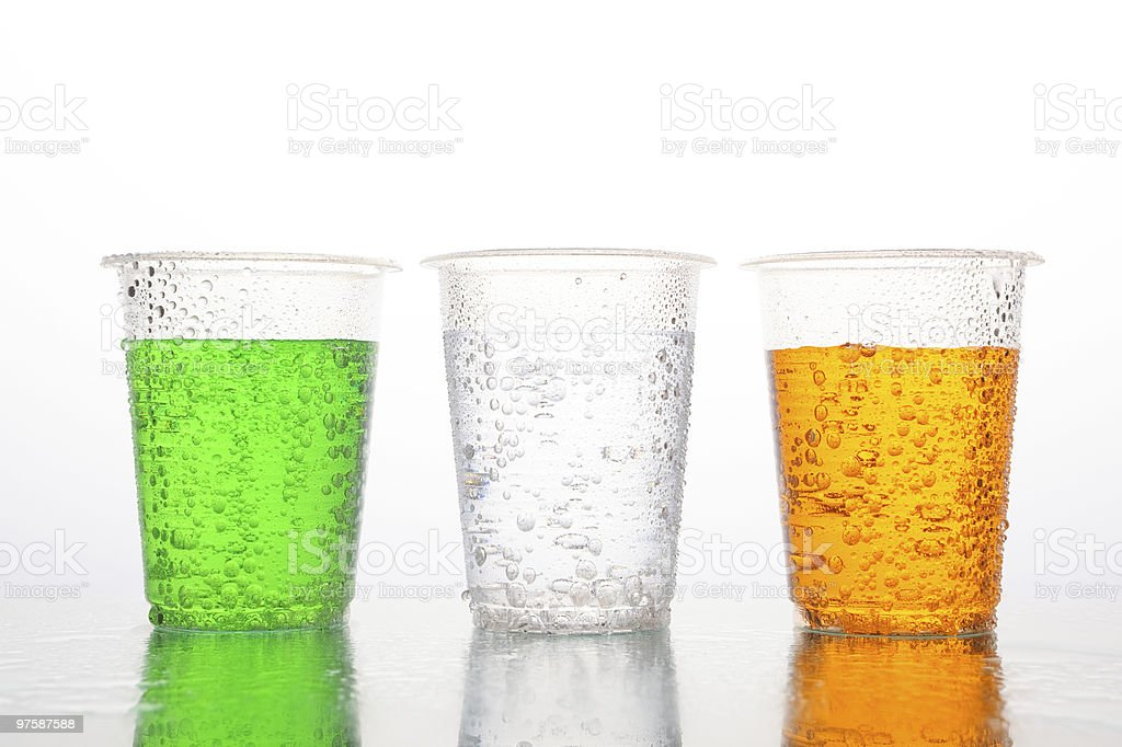 Three different color of carbonated beverages royalty-free stock photo