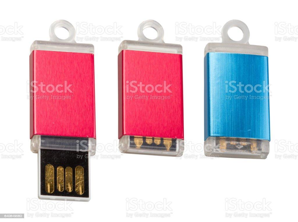 Three different colored USB-stick stock photo