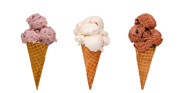 Three different flavored ice cream cones stock photo