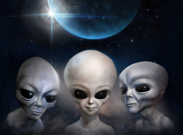 Three different grey aliens on the background of cosmic sky and earth planet. 3D illustration. Wallpaper. stock photo