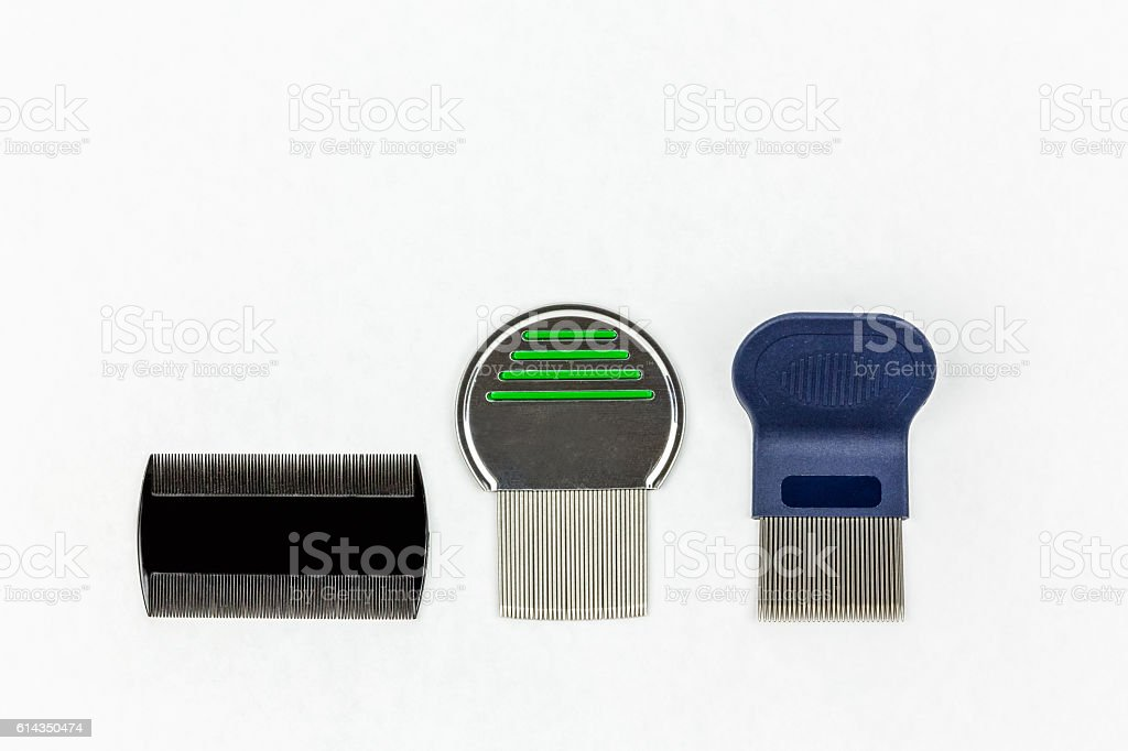 Three different kinds of lice combs. Studio shot on white. stock photo