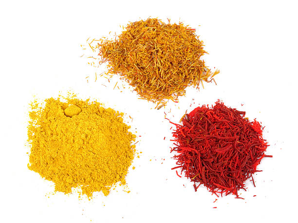 drei verschiedene saffrones - safransauce stock-fotos und bilder
