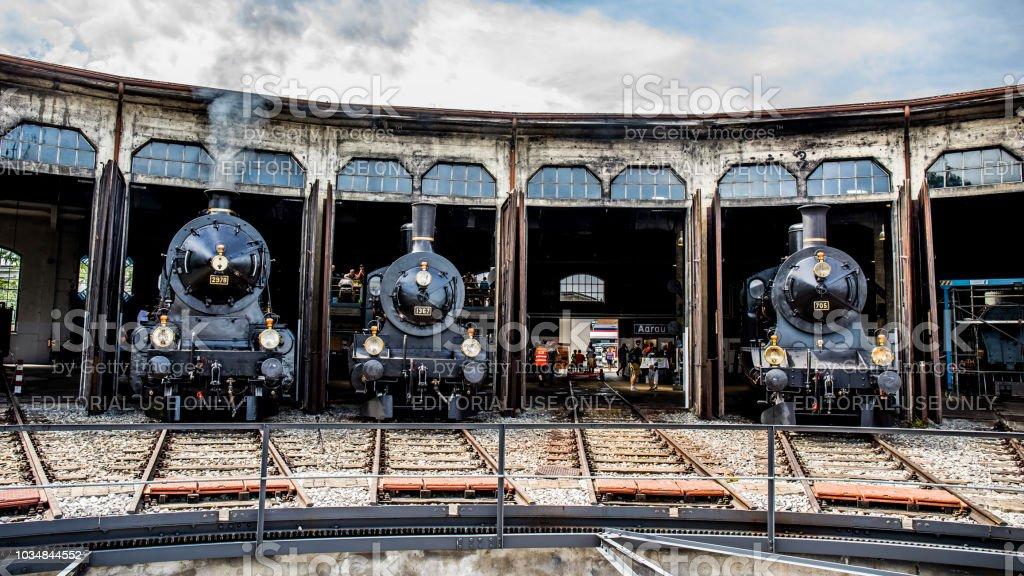 Drei verschiedene Dampflokomotiven der Schweizerischen Bundesbahnen (SBB CFF, FFS) – Foto