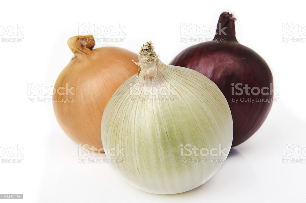 Three different types onions stock photo