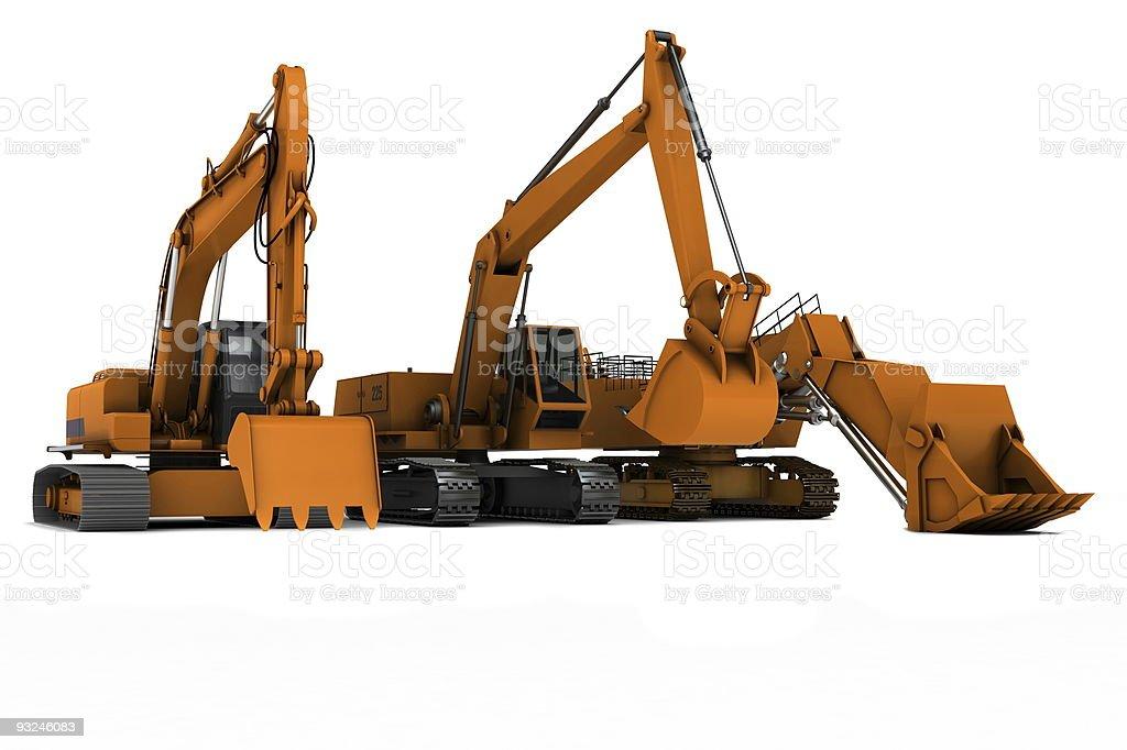 Three diggers stock photo