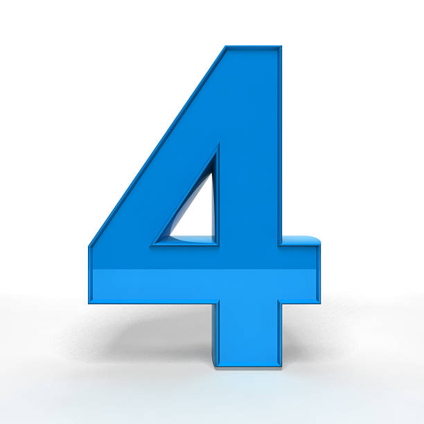 Three dimension blue number four stock photo